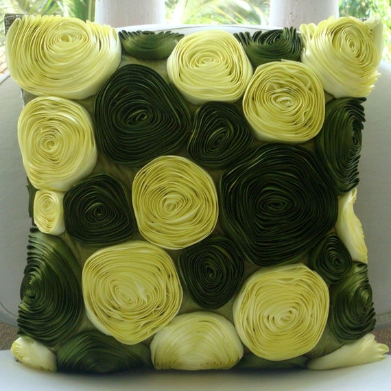 "Luxury Olive Green Pillows Cover, 16""x16"" Silk Pillowcase, Square  Botanical Ribbon Rose Flower Pillows Cover - Vintage Olive Lover"