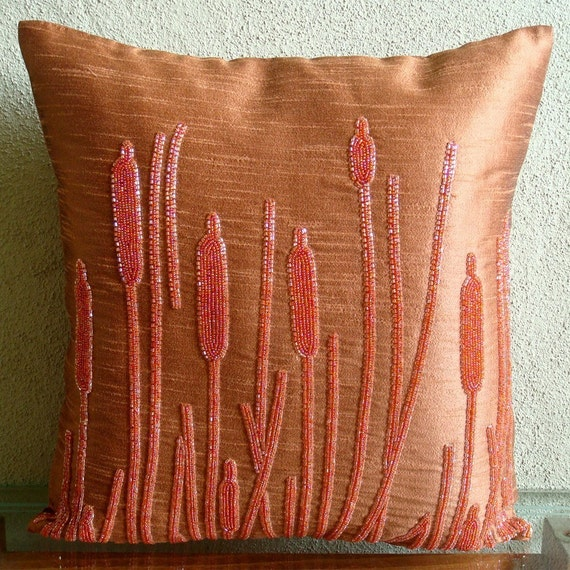 Rusted Beauty - Pillow Sham Covers - 24x24 Inches Silk Pillow Sham Cover with Bead Embroidery