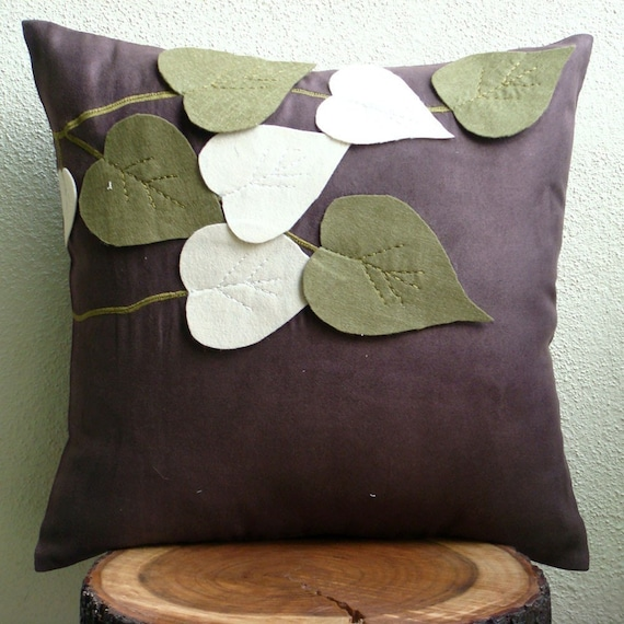 Olive Leafy Day - Throw Pillow Covers - 20x20 Inches Suede Pilllow Cover with Felt Embroidery