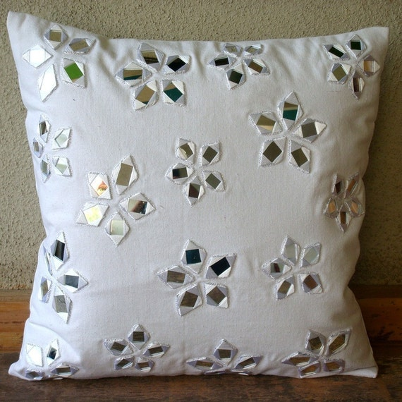 Floral Lake - Throw Pillow Covers - 18x18 Inches Cotton Canvas Pillow Cover in White with Mirror Embroidery