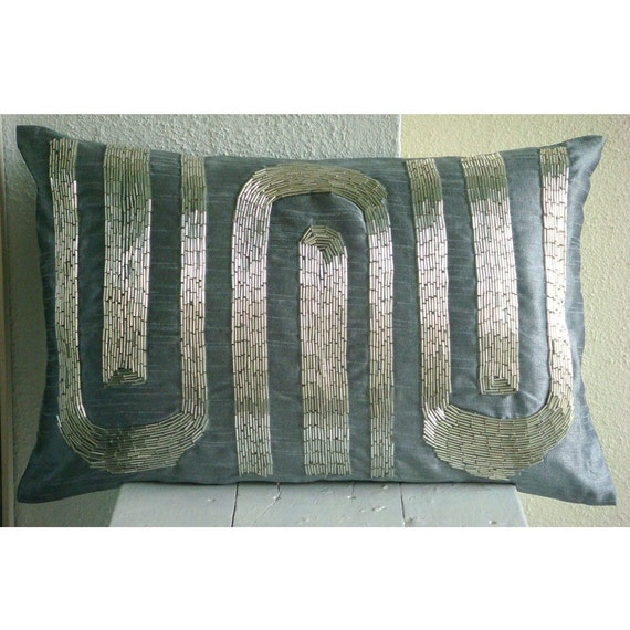 Decorative Oblong / Lumbar Rectangle Throw Pillow Covers Accent Pillow Couch Sofa 12x16 Blue Gray Silk Pillows Pipe Embroidered Silver Turns