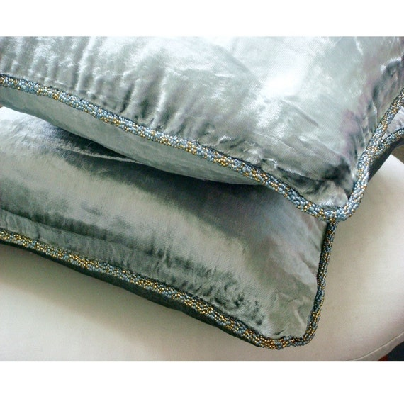 Decorative Pillow Covers Accent Pillows Couch Toss Bed Sofa 16x16 Inch Silver Velvet Pillow Cover with Bead Border Bedding Silver Shimmer