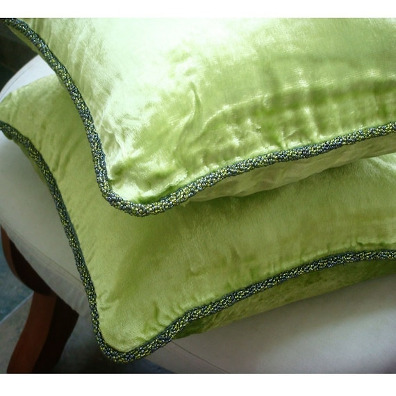 Decorative Throw Pillow Covers Accent Pillow Couch Pillows Bed Pillows Sofa Pillows 18x18 Green Velvet Pillow Case with Bead Cord Green Lime