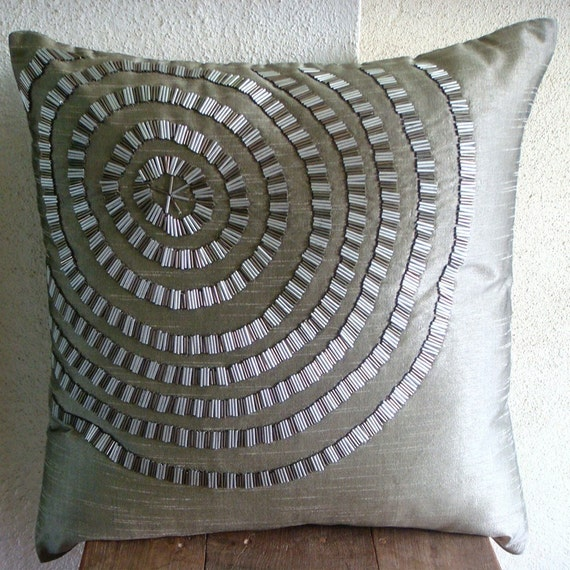 Designer Grey Decorative Pillows Cover 16x16 Silk