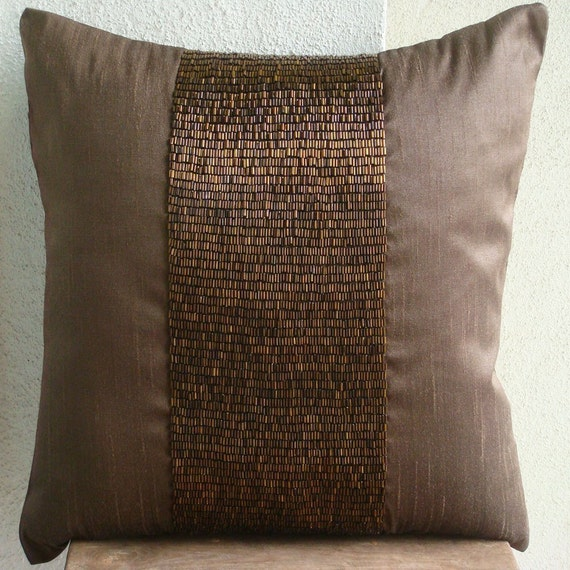 Dark Brown Throw Pillow : Handmade Dark Brown Decorative Pillow Cover 16x16