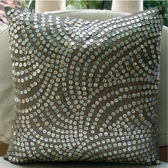 """Luxury Silver Throw Pillow Covers, 16""""x16"""" Silk Pillow Covers, Square  Mother Of Pearls Pillowcases - Pearl Nostalgia"""