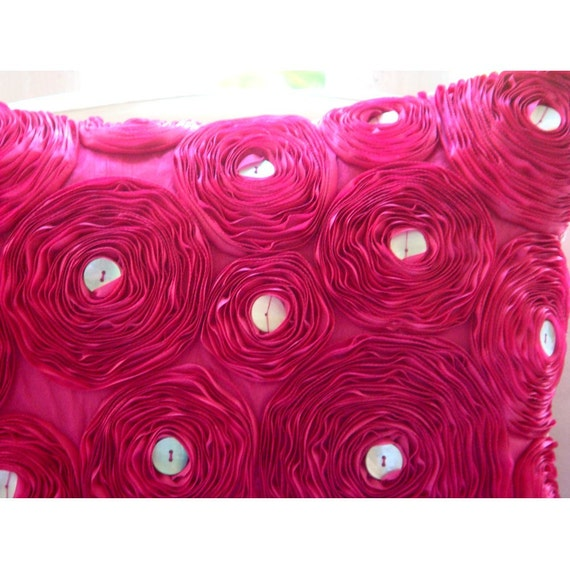 "Fuchsia Pink Throw Pillows Cover, 16""x16"" Silk Pillow Covers, Square  Ribbon Fuchsia Rose Flower Floral Theme Pillows Cover - Fuchsia Power"