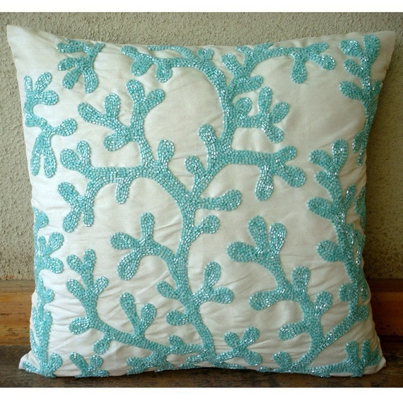 Sea Weeds - Throw Pillow Covers - 20x20 Inches Silk Pillow Cover with Bead Embroidery