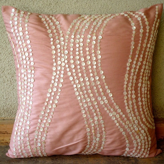 Angelic Charm - Throw Pillow Covers - 18x18 Inches Silk Pillow Cover with Mother Of Pearl