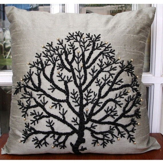 """Luxury Silver Decorative Pillows Cover, 16""""x16"""" Silk Pillowcase, Square  Beaded Tree Throw Pillows Cover - Silver Tree Of Life"""