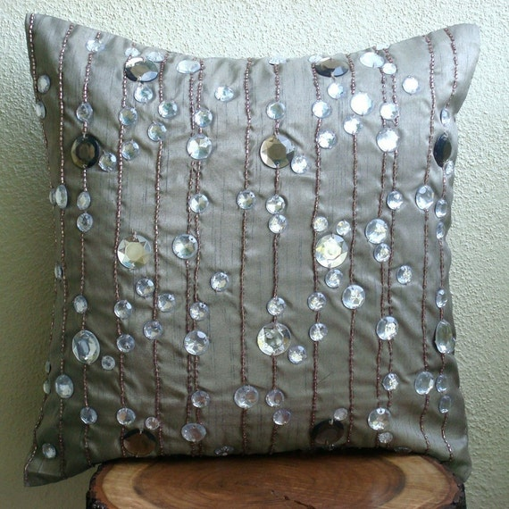 """Handmade Grey Throw Pillows Cover For Couch, 16""""x16"""" Silk Pillows Covers For Couch, Square  Lined Crystals Pillows Cover - Diamond Strings"""