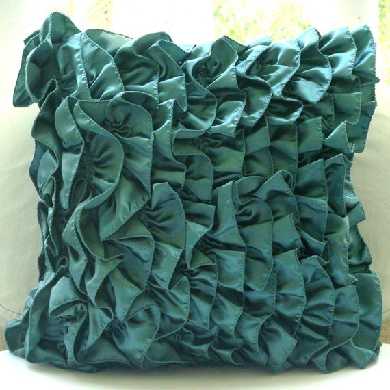 Designer Teal Blue Pillow Covers Vintage Style Ruffles