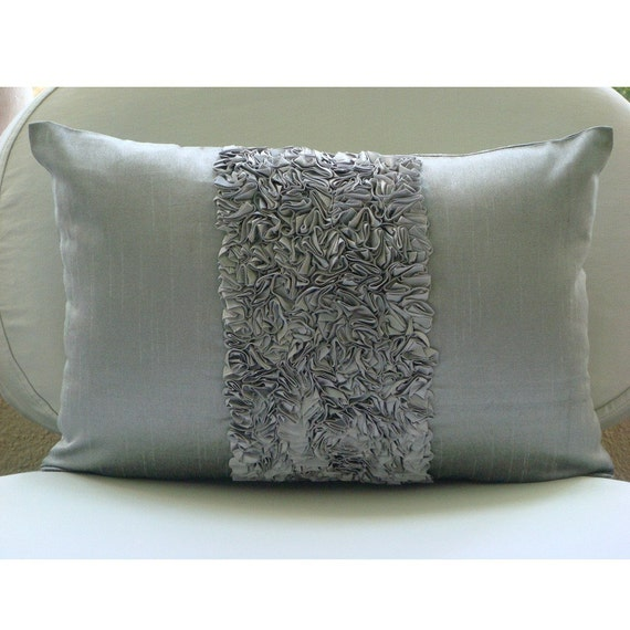 Decorative Oblong / Lumbar Rectangle Throw Pillow Covers Accent Pillow Couch 12x16 Silver Silk Pillow Ribbon Embroidered Vintage Silver Love