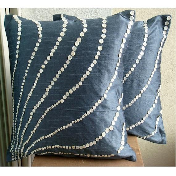 thehomecentric - Handmade Slate Blue Pillows Cover, 16