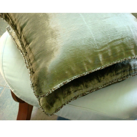 Decorative Throw Pillow Covers 16x16 Inch Olive Green Velvet Pillow Cover with Bead Cord Couch Sofa Bed Accent Pillow Cover Olive Shimmer