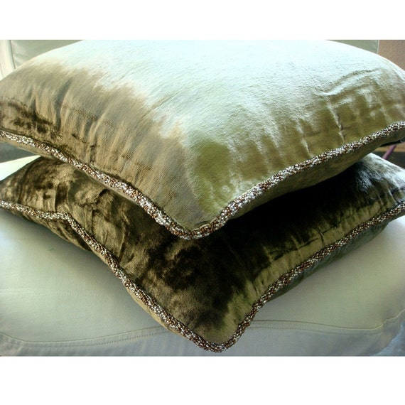 thehomecentric - Handmade Olive Green Throw Pillow Covers, 16