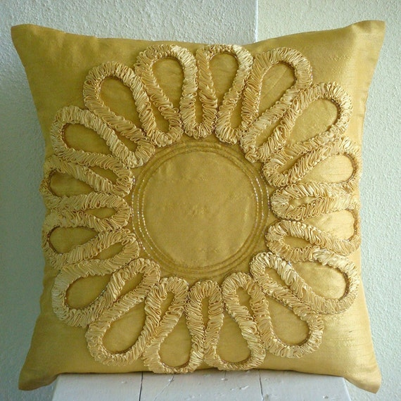 Decorative Pillows Flowers : Gold Decorative Pillow Cover Square Ribbon Flower Medallion