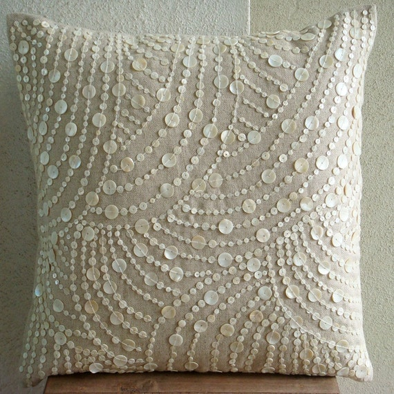"Ecru Throw Pillows Cover, 16""x16"" Cotton Linen Throw Pillows Cover, Square  Mother Of Pearls Decorative Pillows Cover - Dreams N Pearls"