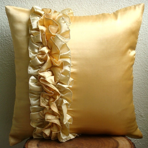 Decorative Throw Pillow Covers Couch Pillow Case Sofa Pillow Bed Pillow Toss Pillow 20x20 Satin Ruffle Pillow Cover Home Decor Vintage Honey