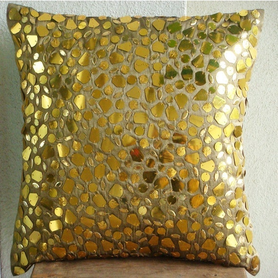 "Luxury Gold Cushion Covers, 16""x16"" Silk Pillows Covers For Couch, Square  Mosaic 3D Metallic Sequins Pillows Cover - The Gold Mosiac"