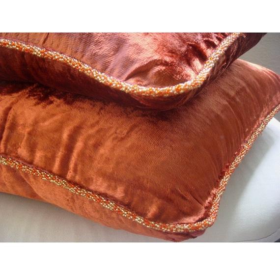"""Designer Rust Accent Pillows, 16""""x16"""" Velvet Throw Pillows Cover, Square  Velvet Beaded Cord Throw Pillows Cover - Rust Shimmer"""