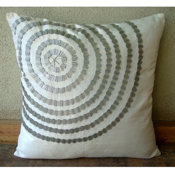 Staying Centered - Throw Pillow Covers - 18x18 Inches Silk Pillow Cover with Silver Pipes