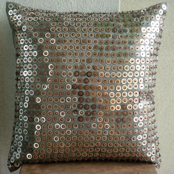 Exotic Lounge - Pillow Sham Covers - 24x24 Inches Silk Pillow Cover with Sequins