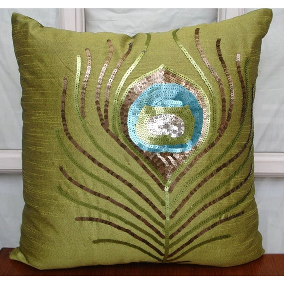 Green Peacock Feather Throw Pillow Covers 20x20 Inches