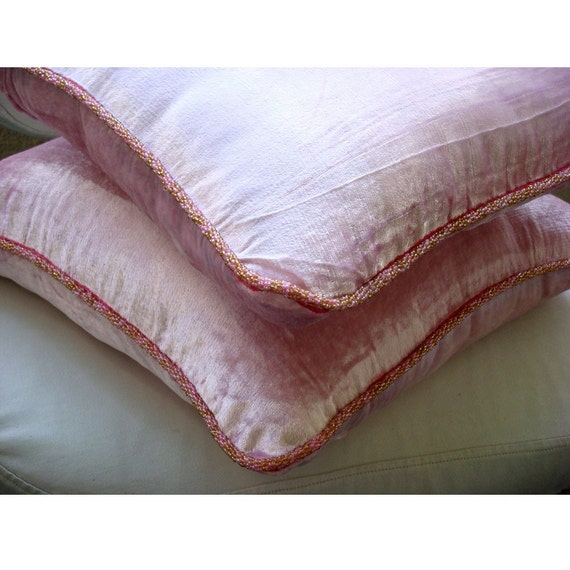 Soft Pink Shimmer - Euro Sham Covers - 26x26 Inches Velvet Euro Sham Cover with a handmade beaded border