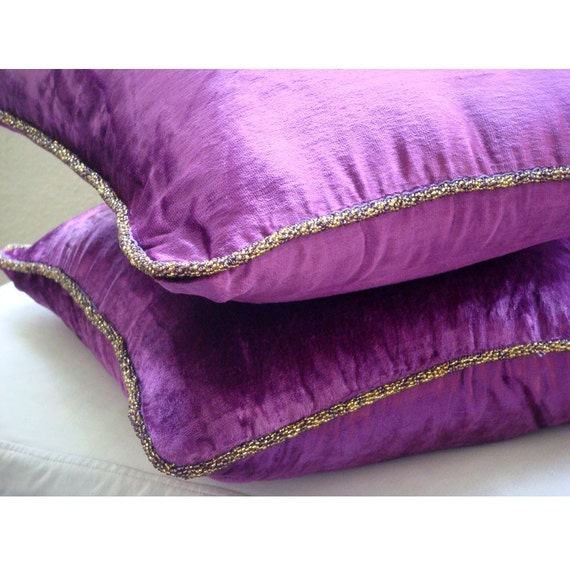 Purple Velvet Decorative Pillows : Decorative Throw Pillow Covers Accent Pillow by TheHomeCentric