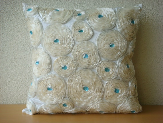 "Handmade Ivory Throw Pillow Covers, 16""x16"" Silk Pillows Cover, Square  Ribbon Ivory Rose Flower Floral Theme Pillows Cover - Ivory Roses"