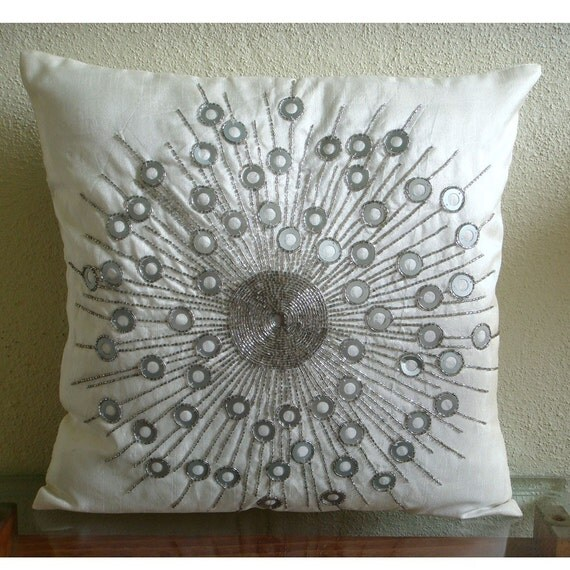 Decorative Throw Pillow Covers Accent Pillow Couch Toss Sofa 20x20 Inches White Silk Pillow Cover Silver Bead Embroidered Silver Moon Light