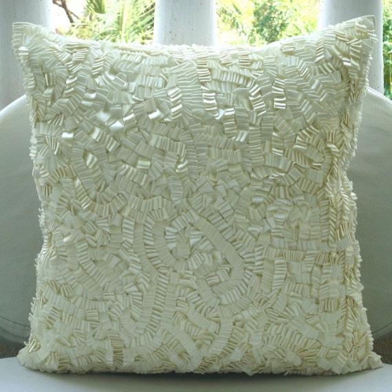 Ivory Elegance Throw Pillow Covers 20x20 Inches Silk