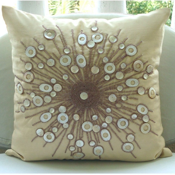 Moon Glow - Pillow Sham Covers - 24x24 Inches Silk Pillow Sham Cover with Mother Of Pearl Bead Embroidery
