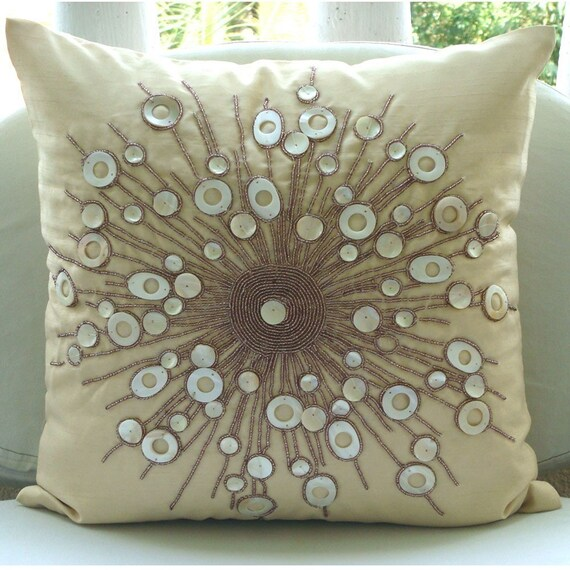 Moon Glow - Euro Sham Covers - 26x26 Inches Silk Euro Sham Cover with Mother Of Pearl Bead Embroidery