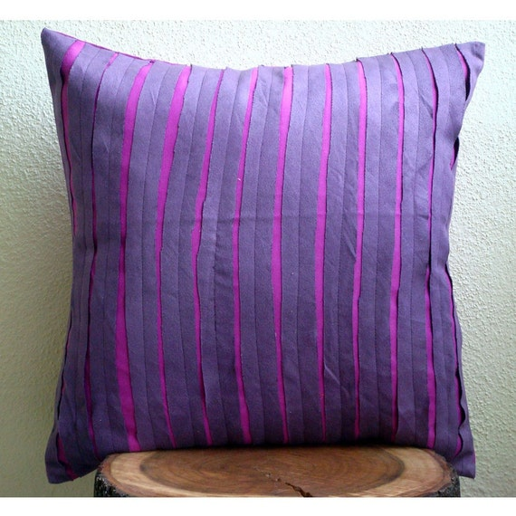 Purple Rags Throw Pillow Covers 20x20 Inches by TheHomeCentric
