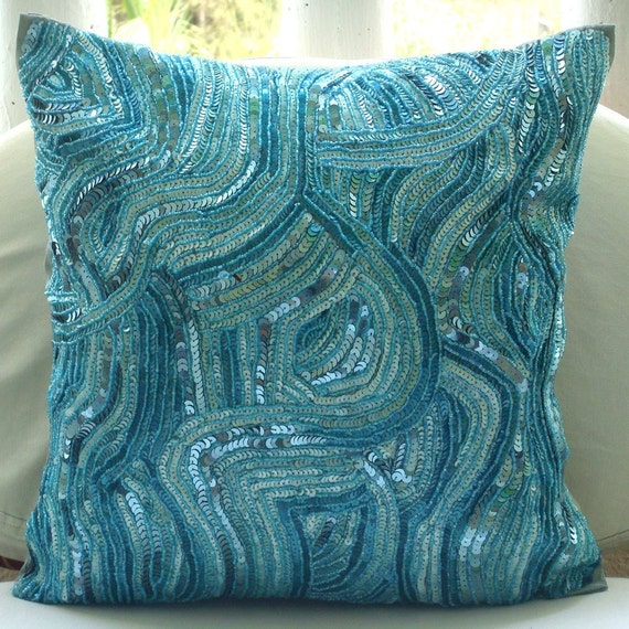 """Luxury  Blue Accent Pillows,Sequins And Beaded Abstract Glitter Sparkly Pillows Cover Square  18""""x18"""" Silk Throw Pillows Cover-Aqua Infinity"""