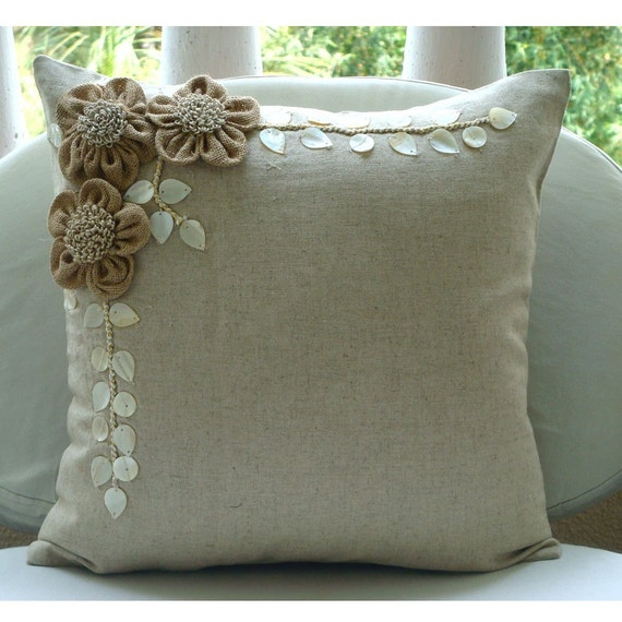 "Ecru Throw Pillows Cover For Couch, 16""x16"" Square Cotton Linen Pillows Covers For Couch - Jute Blooms"