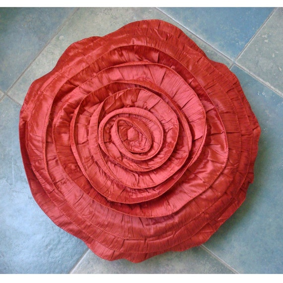 Decorative Throw Pillow Covers Accent Pillow Couch Sofa Bed 16 Inch Round Rust Crushed Silk Pillow Cover with Ruffles Home Decor Rust Rose