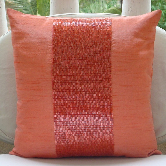 "Luxury Orange Pillows Cover, 16""x16"" Silk Pillows Cover, Square  Beaded Centered Pillows Cover - Peachy Orange"