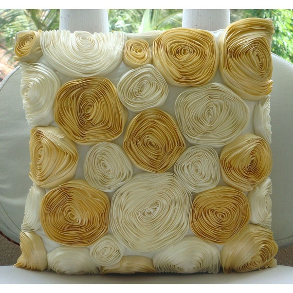 Decorative Throw Pillow Covers Accent Couch Pillows 16x16 Inch Silk Pillow Cover Ribbon Embroidered Home Decor Living Gold N Ivory Blooms