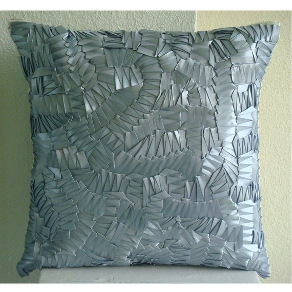 """Luxury Silver Throw Pillows Cover For Couch, 16""""x16"""" Silk Pillows Cover, Square  Ribbon Art Work Abstract Pillowcases - Silver Mist"""