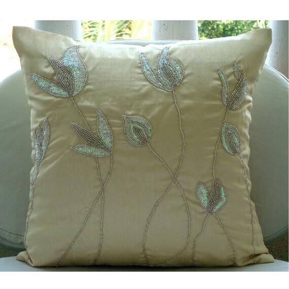 Cream Pillows Cover 16x16 Silk Throw Pillows