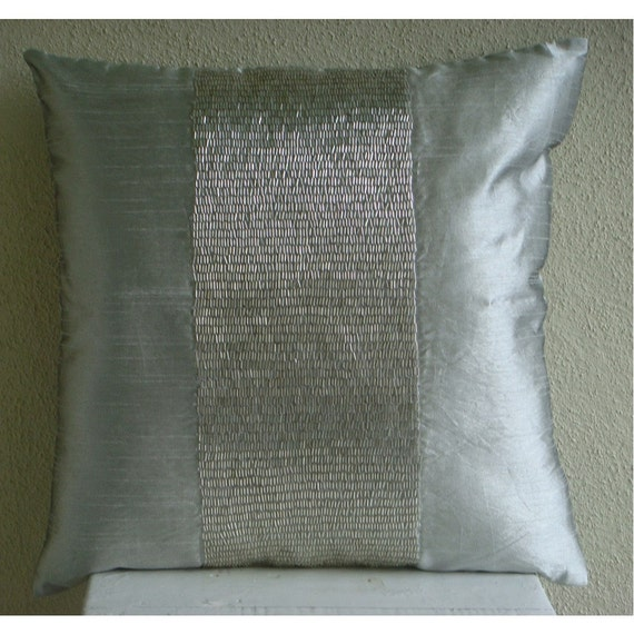 Silver Center - Throw Pillow Covers - 20x20 Inches Silk Dupion Pillow Cover Embellished with Sequins