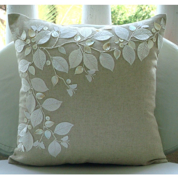 Handmade Rail Of Leaves Mother Of Pearls Pillows Cover Ecru
