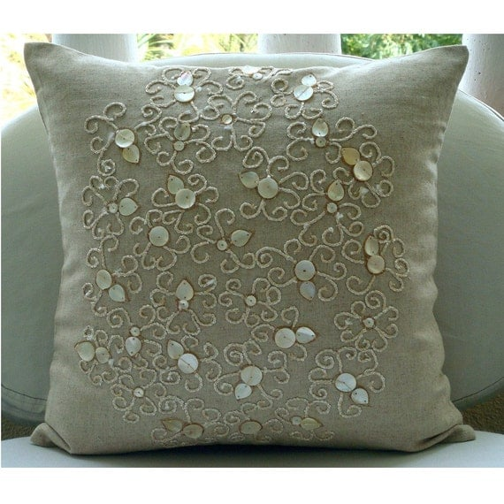 Decorative Throw Pillows Covers Accent Couch Pillow 20x20 Inch Linen Pillow Mother Of Pearl Embroidered Home Decor Housewares Pure Treasures