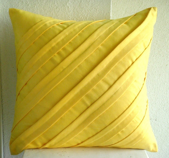 """Handmade Yellow Throw Pillow Covers, 16""""x16"""" Faux Suede Pillowcase, Square  Textured Pintucks Solid Color Pillow Covers -Contemporary Yellow"""