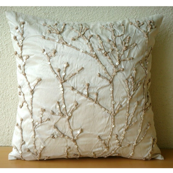 Jute Willow - Throw Pillow Covers - 20X20 Inches Silk Pillow Cover with Jute Embroidery