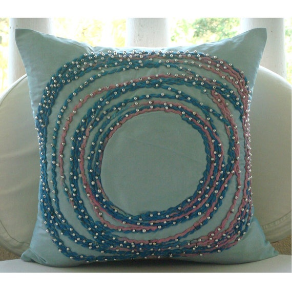 """Handmade  Spiral Multi Color Jute Pillows Cover, Blue Pillow Cases Silk Pillows Cover, Square  20""""x20"""" - Adrift In Dreams"""