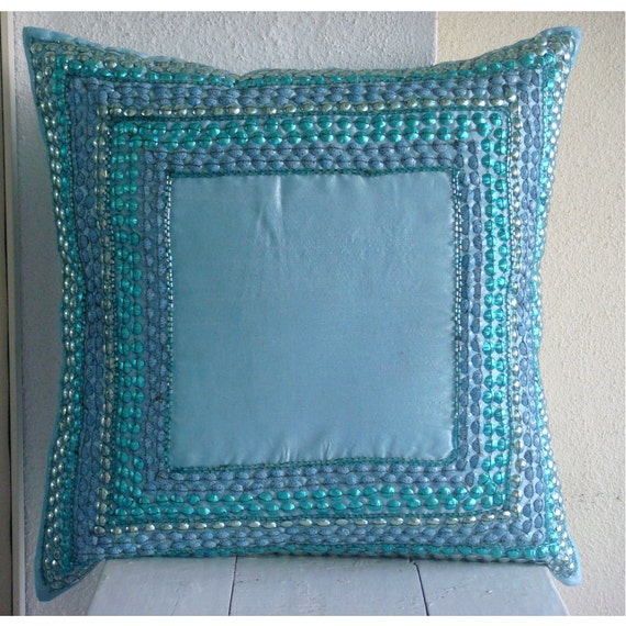 "Designer Aqua Blue Pillows Cover, 3D Sequins Bordered Pillows Cover Square  18""x18"" Silk Pillows Cover - Blue Celebrations"